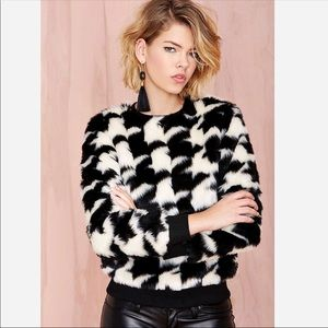 NWOT Nasty Gal houndstooth faux fur sweater
